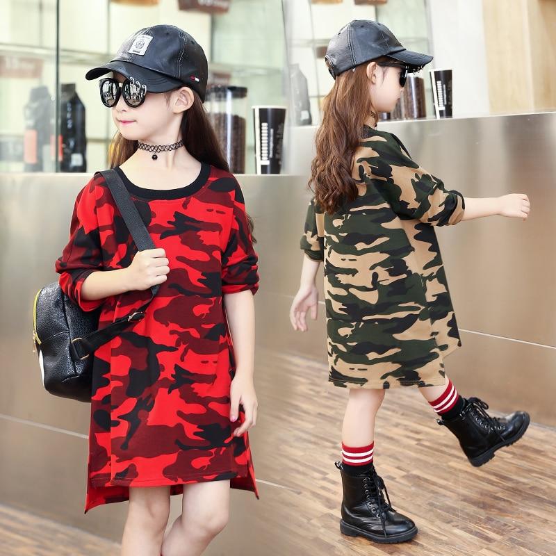 Kids Dresses For Girls Tees Long Sleeve Cotton Girls T-Shirts Autumn Camouflage Girls Dress Children Clothing 5 7 9 11Y Vestidos