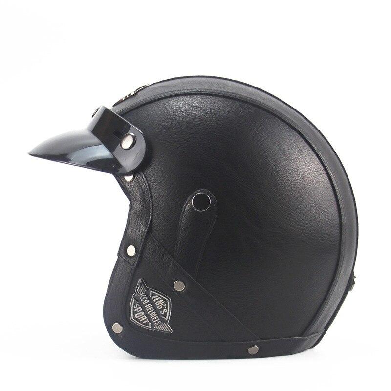 Винтаж Кожаные Мотоциклетные открытым лицом Половина шлем 3/4 черный Прохладный и высокое качество черный