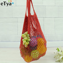 eTya Shopping Bags 2018 Women Mesh Net Shopping Bag Reusable Foldable Cotton Fruit Grocery Shopper Women Shoulder Bag Tote Case(China)