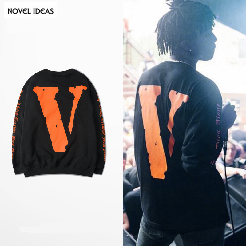 Hoodie Design Ideas black hoodie template backpics for hoodie template front Kanye West Designer Hoodie 2017 Mens New Arrivals Vlone V Letter Printing Hip Hop Crewneck Long