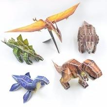 Hot Sale 5pcs/Set 3D Mini Jurassic Dinosaur Fighter Nino Paper Puzzle DIY Model Simulation Educational Toy Birthday Gift For kid