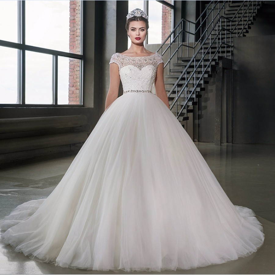 Wedding Dress Queen Vintage Ball Gown Cap Sleeve 2017 With