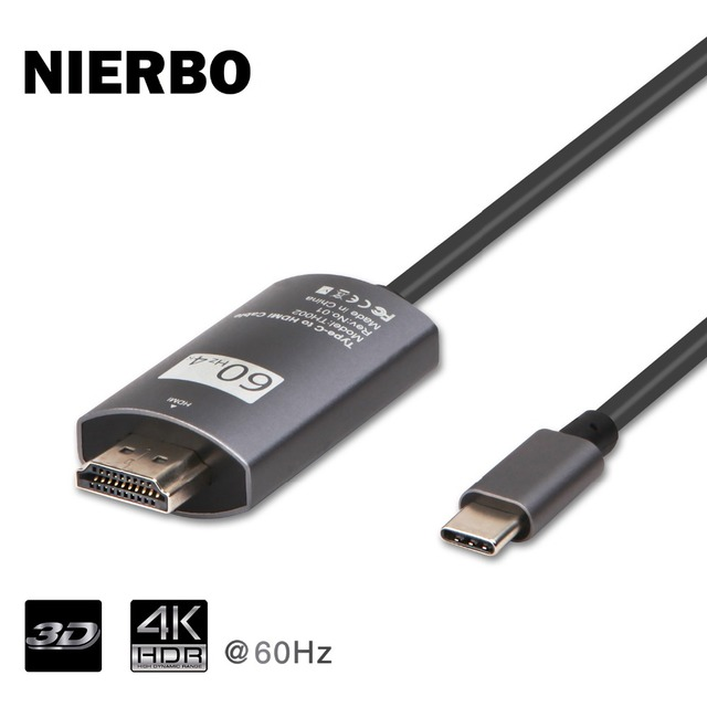 NIERBO USB C to HDMI 4K*2K@60Hz Cable USB 3.1 Type C to HDMI (Thunderbolt 3 Compatible) for MacBook Pro DELL Book Samsung Galaxy