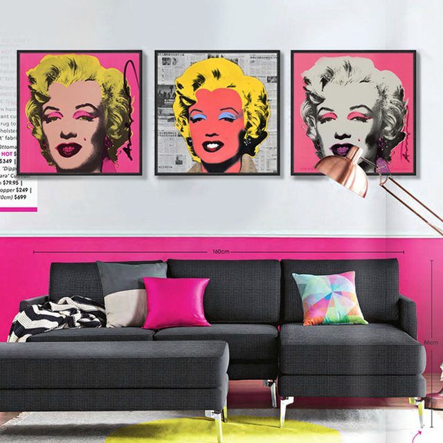 Modern art master Andy Warhol Marilyn Monroe POP fashion works Canvas Wall Art Home Decor Portrait  sc 1 st  AliExpress.com : andy warhol wall art - www.pureclipart.com