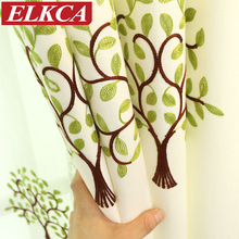 Korean Green Tree Embroidered Curtains for Living Room Window Curtains for Bedroom Faux Linen Curtains for