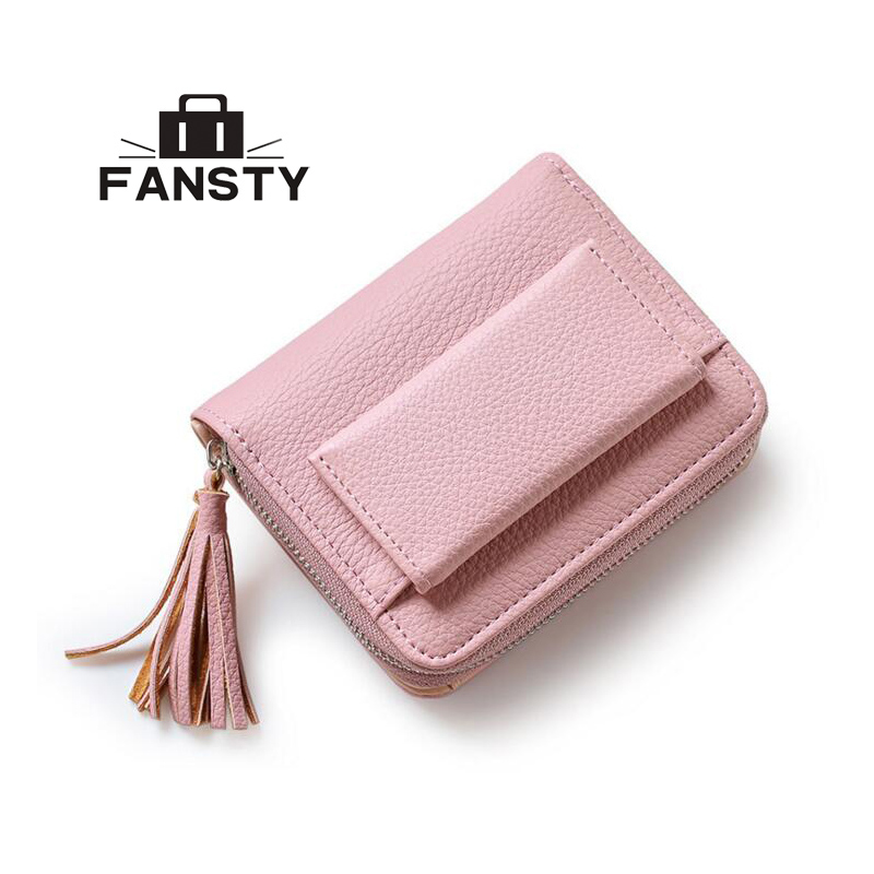 New 2017 European Female PU Leather Purse Cute Students Buckles Clutch Purses Small Fashion Style College Women Tassel Wallet