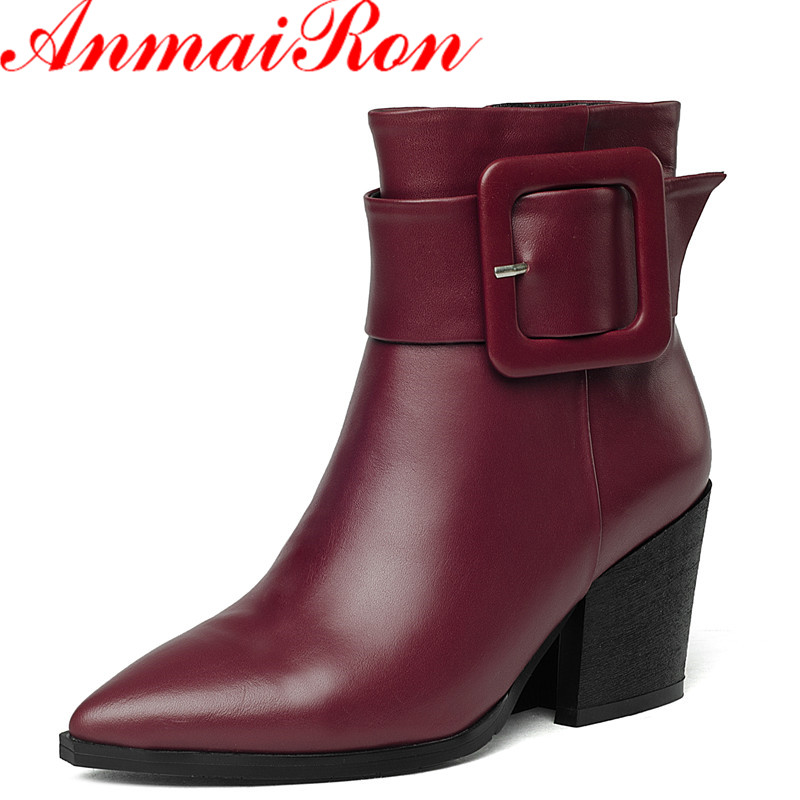 ФОТО ANMAIRON 2016 The Latest Pointed Leather Zipper High Heels Ankle Boots for Women Classic Black Shoes Woman Latest Size 34-40