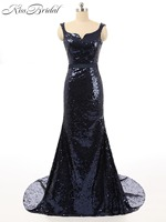 New Elegant Navy Blue Evening Dresses 2018 Long Mermaid Evening Party Gowns For Women Bakcless