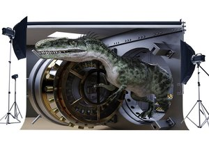 Image 1 - Dinosaur Backdrop Broke the Treasury Jurassic Period Cartoon Photography Background