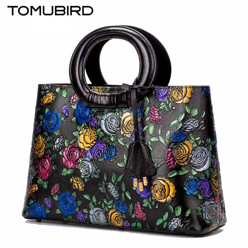 Tomubird Original national limelight cowhide handbag 2017 new luxury rose embossed retro leather handbag