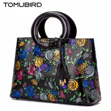 Tomubird  Original national limelight cowhide handbag 2017 new luxury rose embossed retro leather handbag