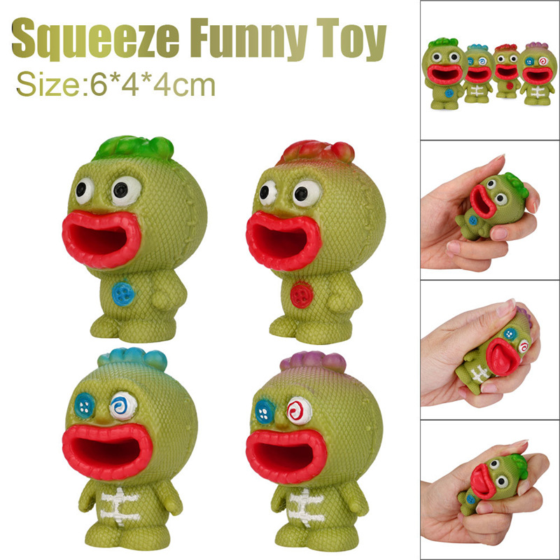 1 Pcs Funny Rubber Stress Relief Toy Decor Decompression Popping Out Decor Squeeze Soft Toys