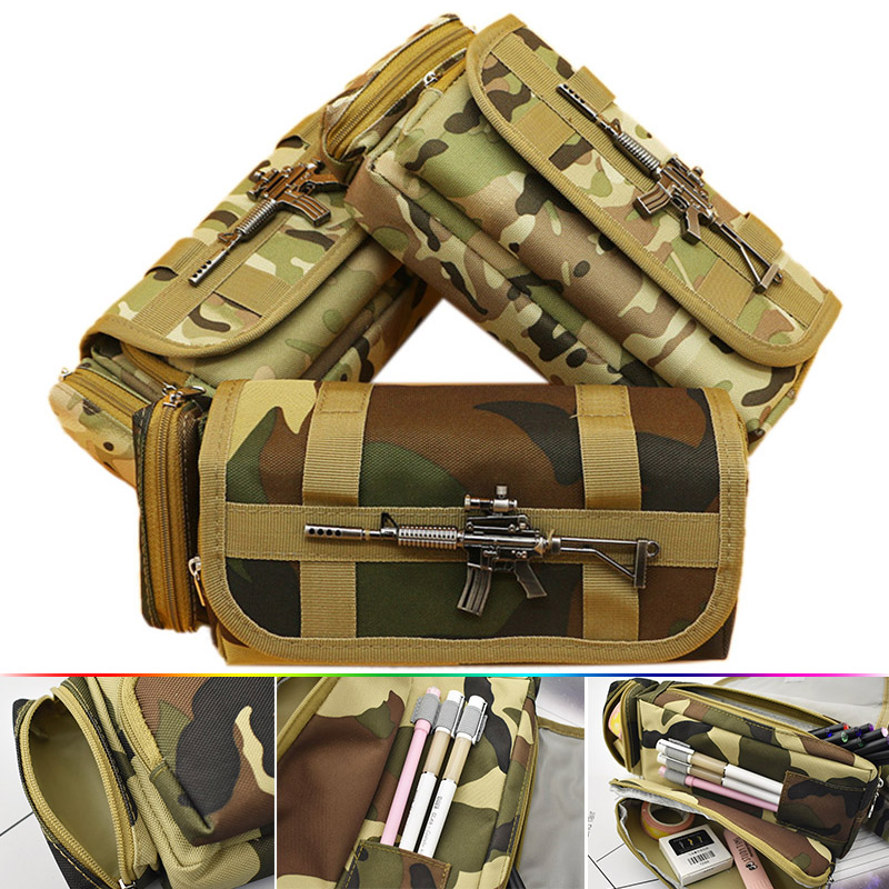Creative Camouflage Pencil Bag Large Oxford Canvas Pencil Case For Boy Gift Korean Stationery Student student creative war gun camouflage pencil bag large oxford canvas pencil case for boy gift school supplies