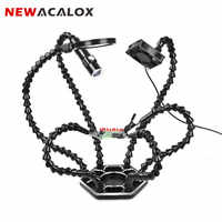 NEWACALOX Third Hand Soldering PCB Holder Tool Six Arms Helping Hands Crafts Workshop Helping Welding Station USB LED Magnifier