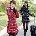 Frete grátis-down jaqueta de couro japanned brilhante para baixo mulheres casaco de médio-longo