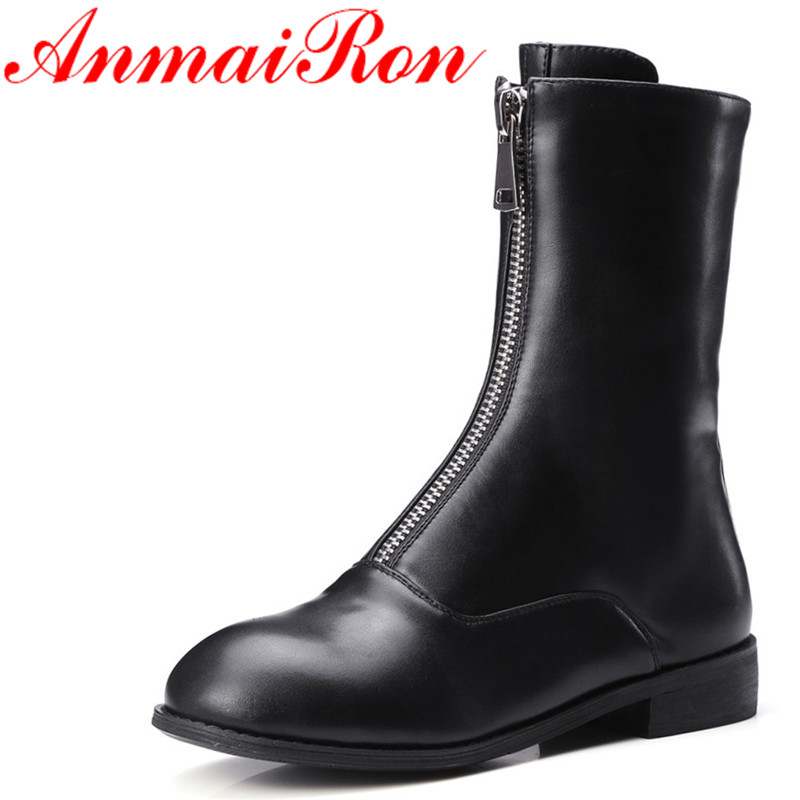 ФОТО ANMAIRON Winter Low Heel Zipper Half Boots Black White Classics Color Martin Boots Fashion Women Motorcycle Boots
