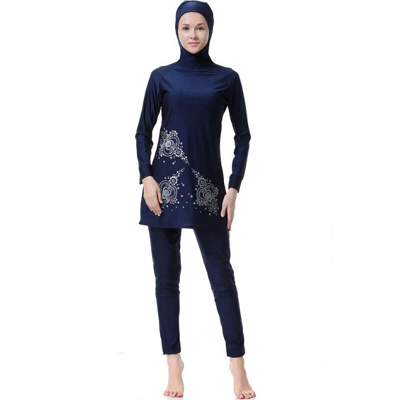 2018 Hot Sale Hijab Muslim Swimsuits Women Swim Wear Hooded Islamic Full Coverage Anti-UV Printing 2 Pieces Bathing Clothing ...