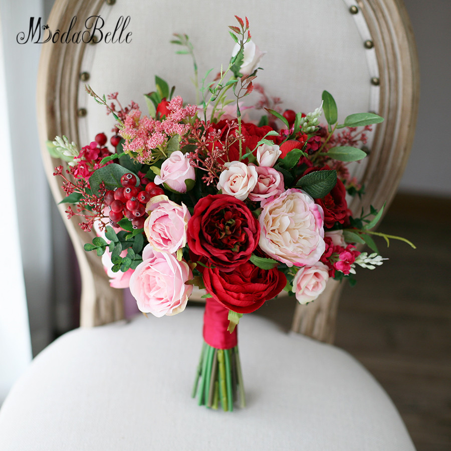 Modabelle New Style Outside Wedding Bouquets Red Pink Artificial