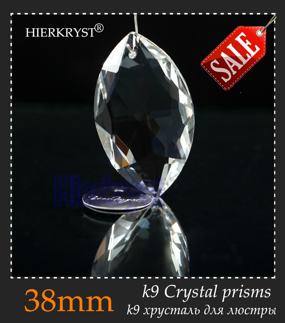 """HIERKYST 5 st K9 Glas Crystal Prisms Hängsmycken Ljuskronor Delar Lustres Rainbow Lamp Belysning Hang Drops 38mm 1.49 """"# 2240-1A"""