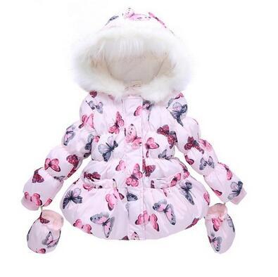 Yüksek kalite, moda kız kış mont Eldiven + 2 Adet set Kelebek Kapüşonlu Zip Polar onları Kız kış ceket marka 2016