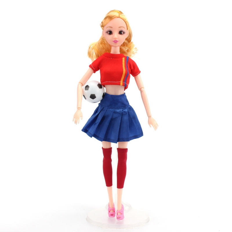 Handmade Casual Football Girl Doll Clothes Sports Girl Clothes for Dolls Football Baby Sport Suits Barbies Clothes Accessories (2)