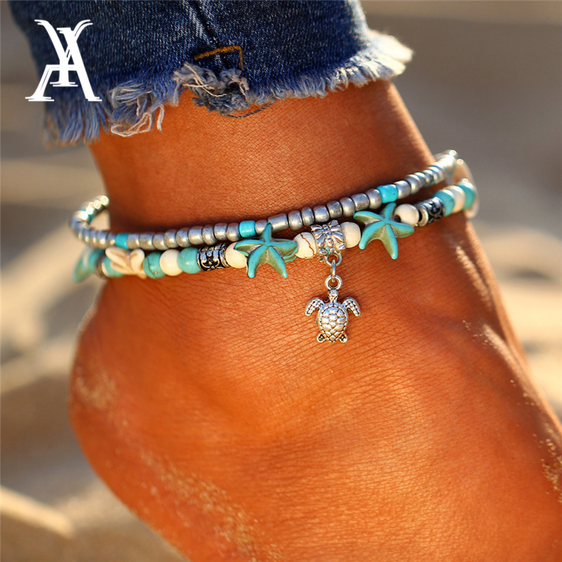 Bohemian Starfish Turtle Anklets For Women Vintage Beach Multiple Layers Anklet Ankle Bracelet Foot Jewellry Summer Barefoot
