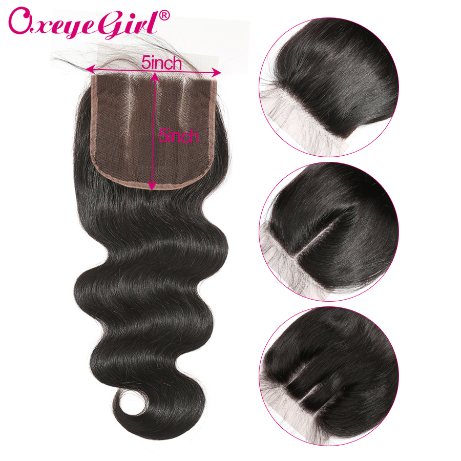 Oxeye girl Brazilian Hair 5x5 Lace Closure With Baby Hair Body Wave Bundles Free Middle Three