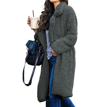 Hot Women Lady Top Coat Long Sleeve Warm Lapel Fashion Medium Length Solid Color For Winter CGU 88 5