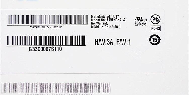 B156HAN01.2 IPS FHD AUO AU Optronics LCD Screen Display 1920*1080 eDP 30pin Matte Screen