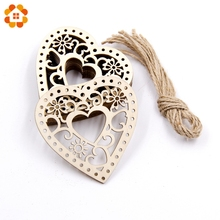 10PCS Wooden Hollow Heart Carved Flower Christmas Pendants Ornaments Christmas Party Gift Decoration Xmas Tree Ornaments Supplie