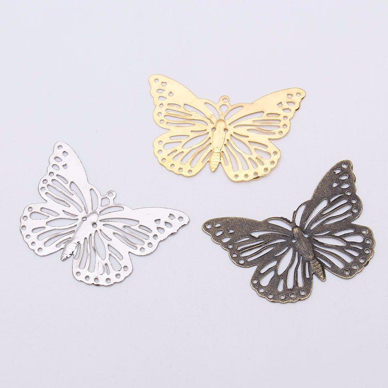 30 шт. шпилька кулон 38 * мм 25 мм полые бабочка листовой черный металл цветок Torus DIY ювелирные изделия