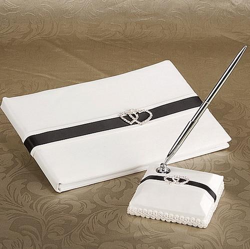 Satin Romance Double Hearts Rhinestones Sash Wedding Guestbook Pen Set