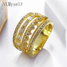 Новое широкое большое кольцо белого и золотого цвета модное