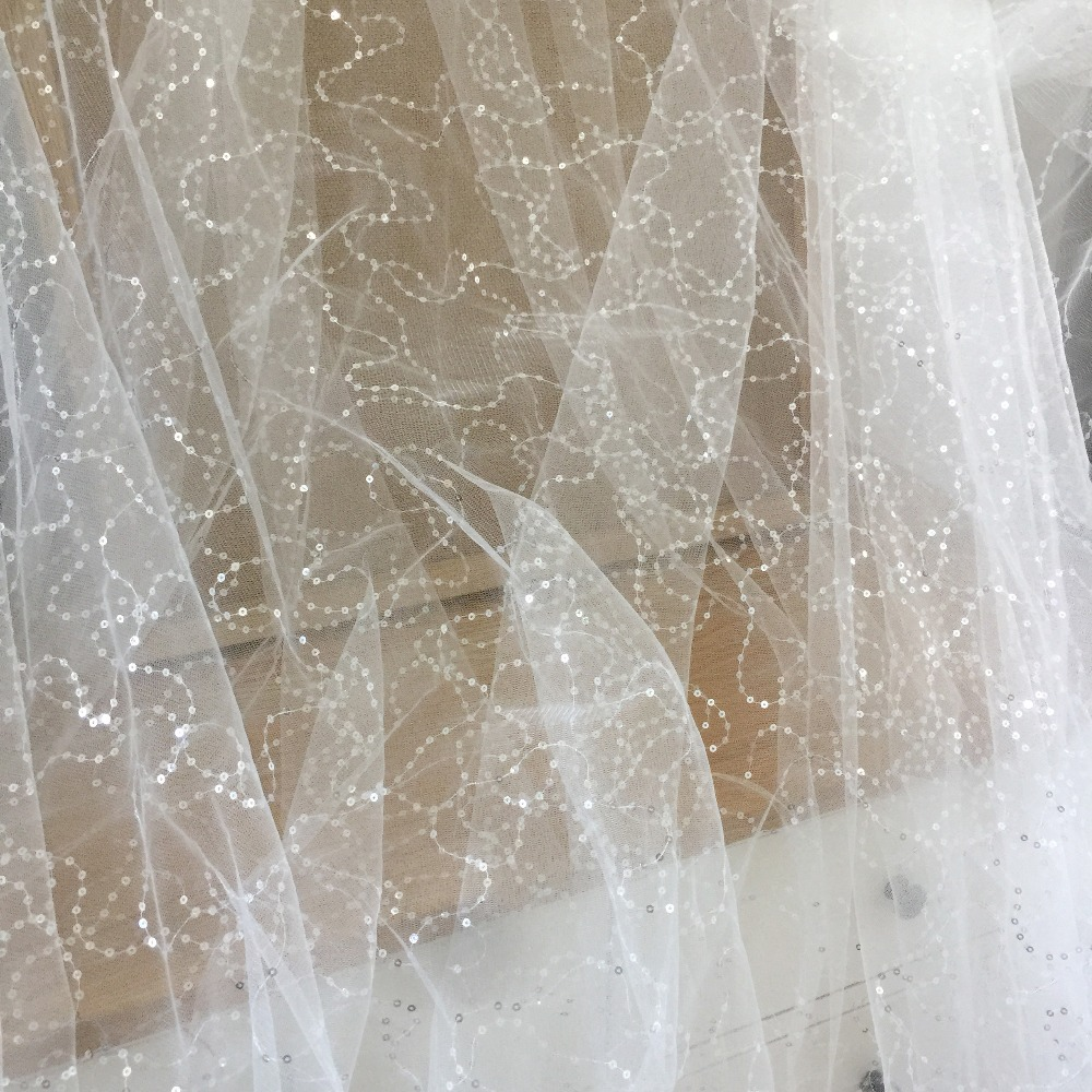 5 yards/lot sequin stiff tulle lace fabric in off white, net wedding gown overlay embroidery lace , craft fabric 150 cm wide image