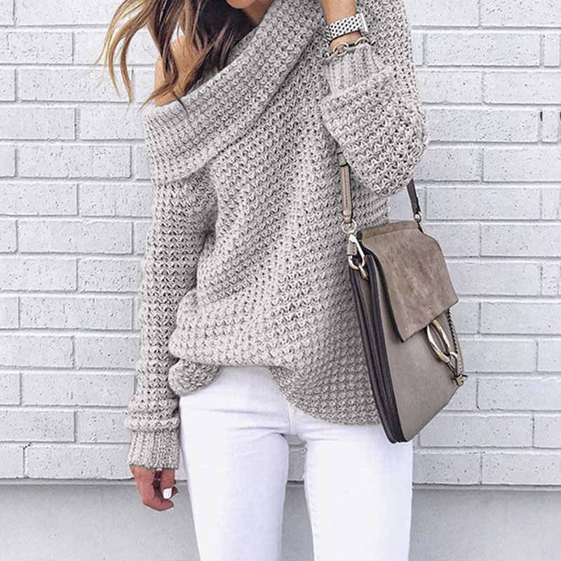 Autumn Off Shoulder Sweater Women Pullover Sweater Warm Winter Knitted Sweater Ladies Long Sleeve Women Loose Sweater Female