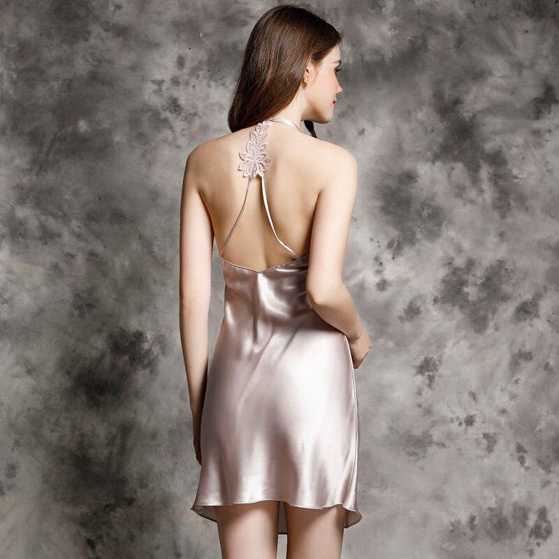 dc3aa8b4a Puro 100% camisola de seda das mulheres costas nuas suspensórios mancha  vestido de noite do