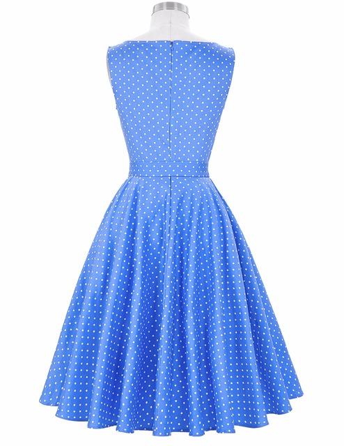 Women Summer Dress 2016 Stock Retro Vintage Cotton Sleeveless Crew Neck Cotton Party Picnic Dress Retro 50s Vintage Vestidos