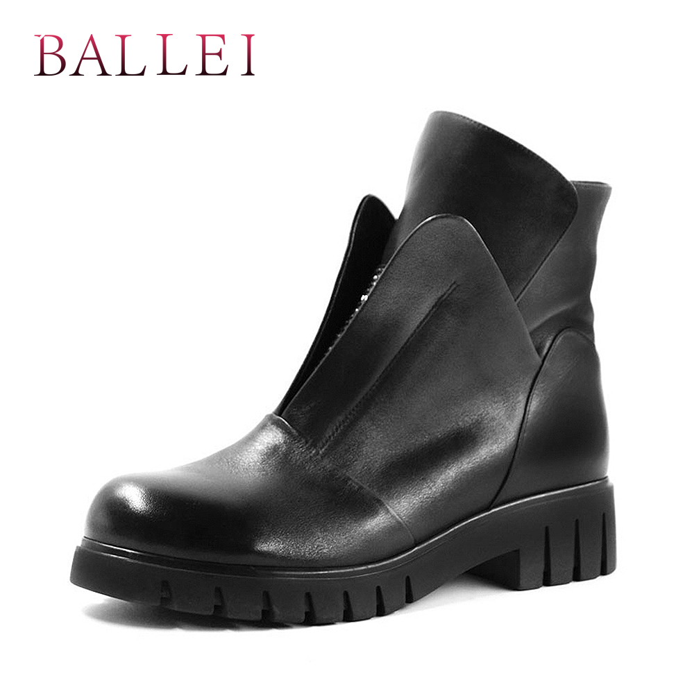 BALLEI Luxury Winter Ankle Boots Quality Genuine Leather Solid Round Toe Comfortable Square Heels Shoes Casual Zipper B12