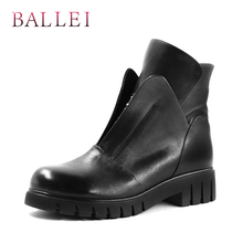 BALLEI Luxury Winter Ankle Boots Quality Genuine Leather Solid Round Toe Comfortable Square Heels Shoes Casual Zipper Boots B12 радар детектор playme hard 3 gps приемник