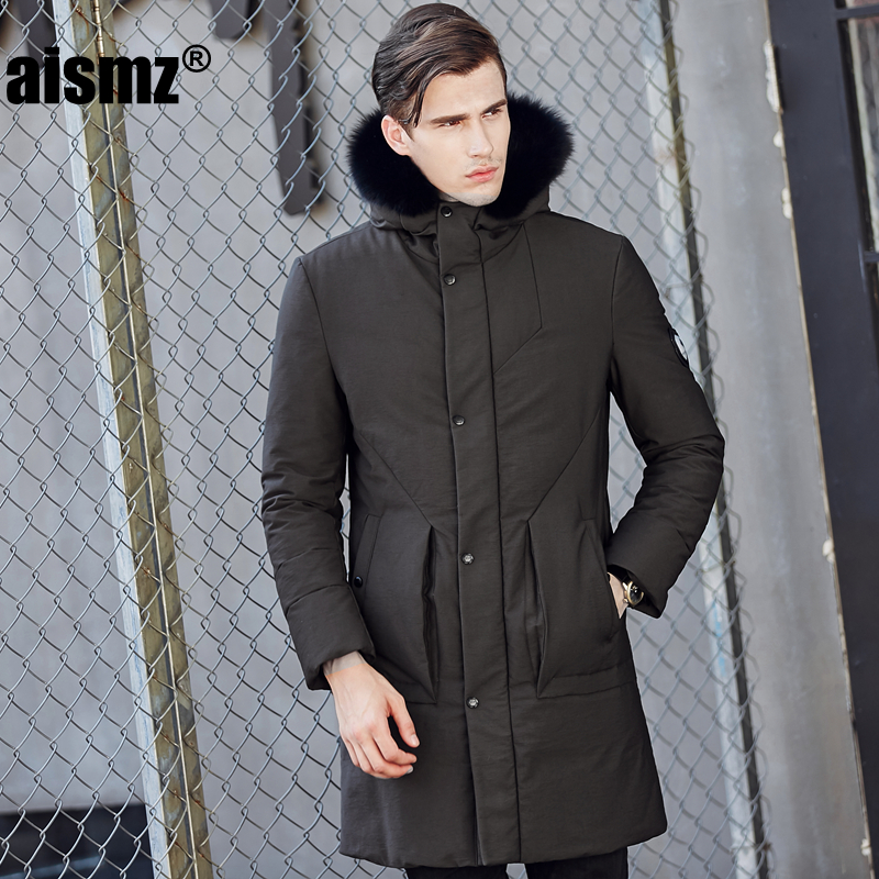 Aismz 2018 New Brand Clothing Jackets Thick Keep Warm Men High Quality Fur Collar Hooded Down Jacket Winter Coat Male 1713