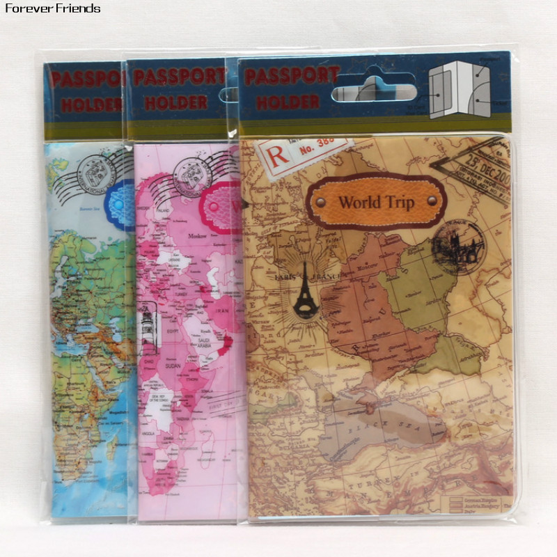 2D Design New cool cartoon passport holders for boy, men travel passport cover, pvc leather-The world map