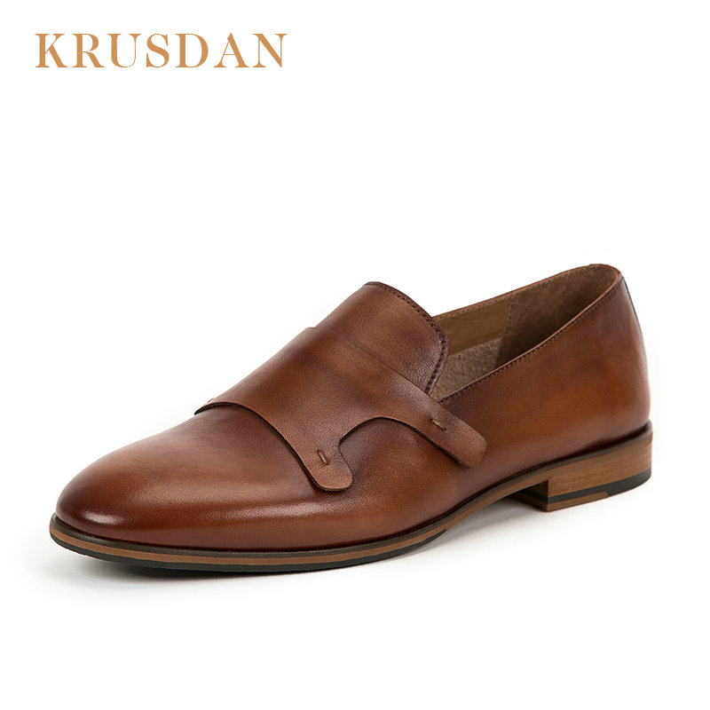 KRUSDAN Brand Casual Genuine leather Men Shoes 2020 New Spring/Autumn Slip On Loafers Moccasins breathable handmade Men Flats-in Men's Casual Shoes from Shoes    1
