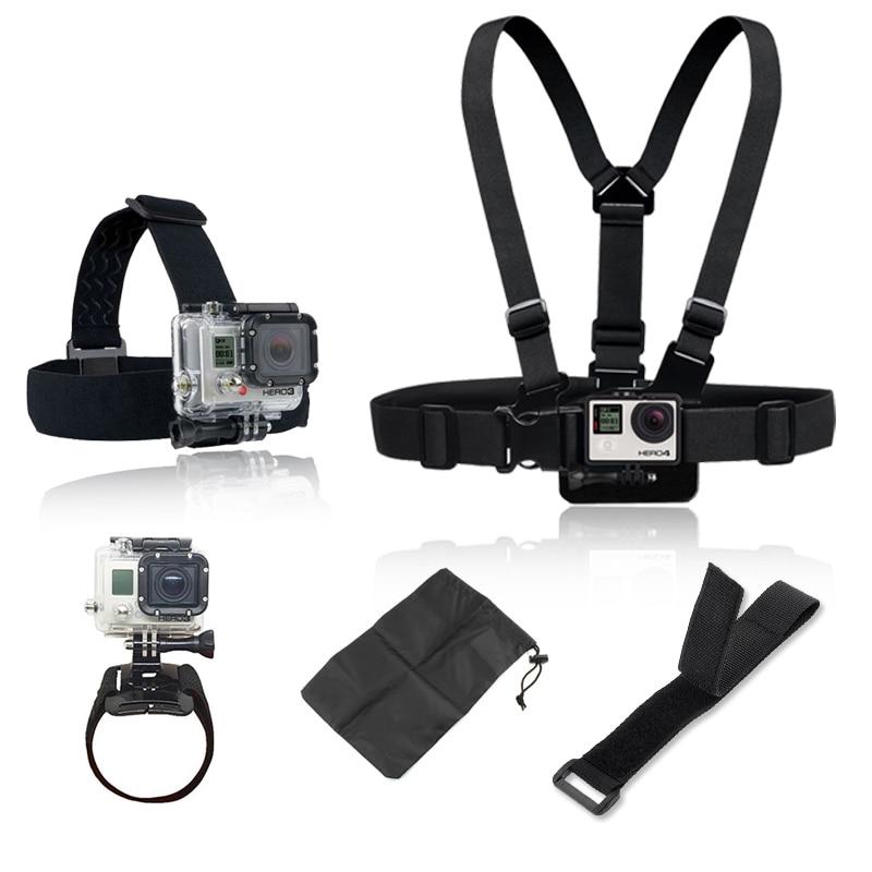 GoPro Accessories Set Harness Adjustable Elastic Chest Belt + Head Stap Mount for Go pro Hero 4 2 3 hero4 Hero3 Black edition