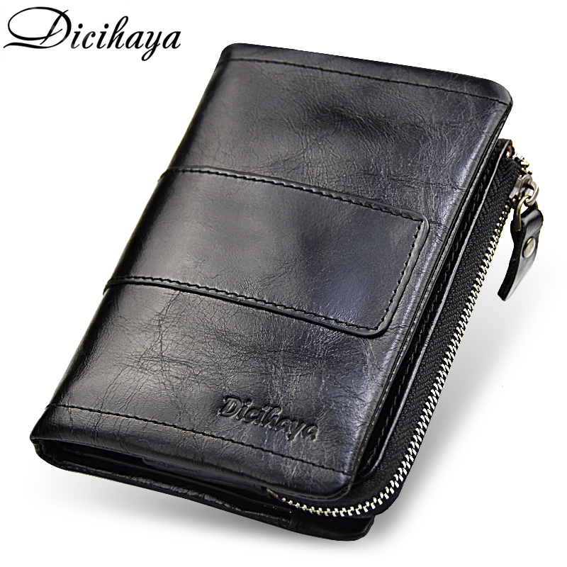DICIHAYA Genuine Leather Men Wallet Soft Purse Coin Pocket Zipper Short Credit Card Holder Wallets Men Black Leather Wallet