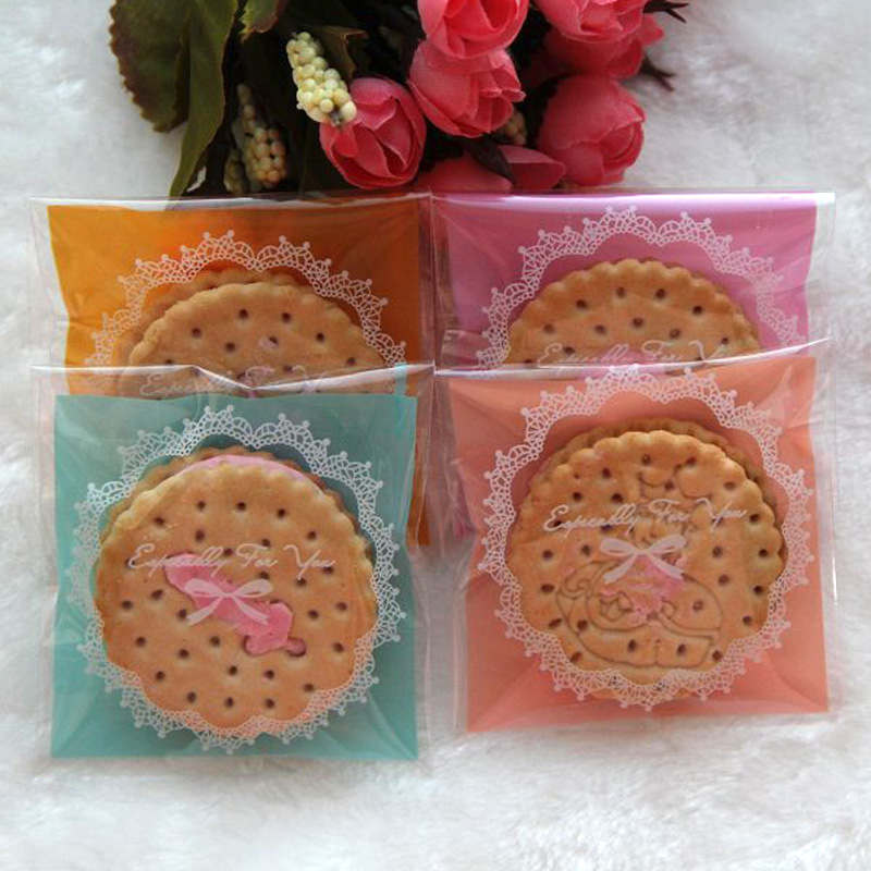 100pcs 4Colors Lace And Bow Cookies Biscuits Bags Self-adhesive Wedding Cellophane Bag Cake Candy Gift Bags