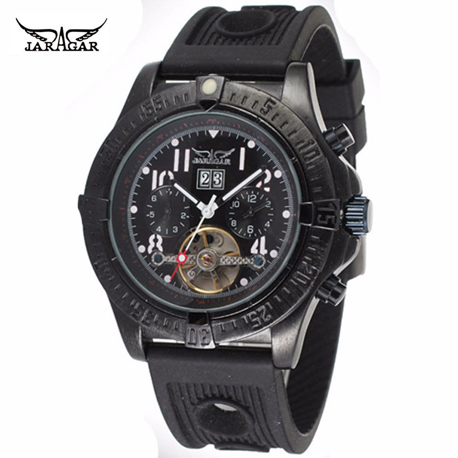 JARAGAR Men's Dress Leisure Mechanical Wrist Watch Tourbillon Colored Hands Soft Silicone Strap Concise Design Auto Calendar casual leisure sport men s mechanical wrist watch leather strap tourbillon calendar display luminous night light big crown