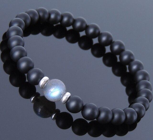 Men S Healing Stone Bracelet Matte Black Onyx Labradorite Sterling Silver