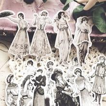 Pegatinas retro europeas retro para mujer diseño de vestir a la moda DIY álbum de recortes planificador feliz pegatinas decorativas