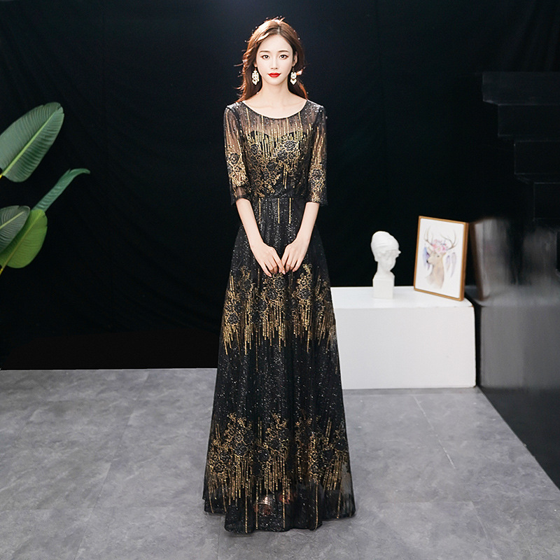 Evening     Dress   Elegant Lace Floor Length Bandage Formal Prom   Dresses   Three Quarter Sequined Long Straight O-neck Party Gowns E348
