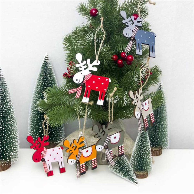 Christmas Tree Decorations Names.Us 0 58 24 Off Cute Cartoon Elk Wooden Hanging Ornament Christmas Tree Decoration Craft For Kids Gifts Xmas Party Home Decor Deer Pendants P10 In